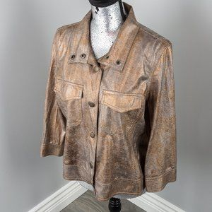 NWOT Ruby Rd. foiled jean type jacket - M